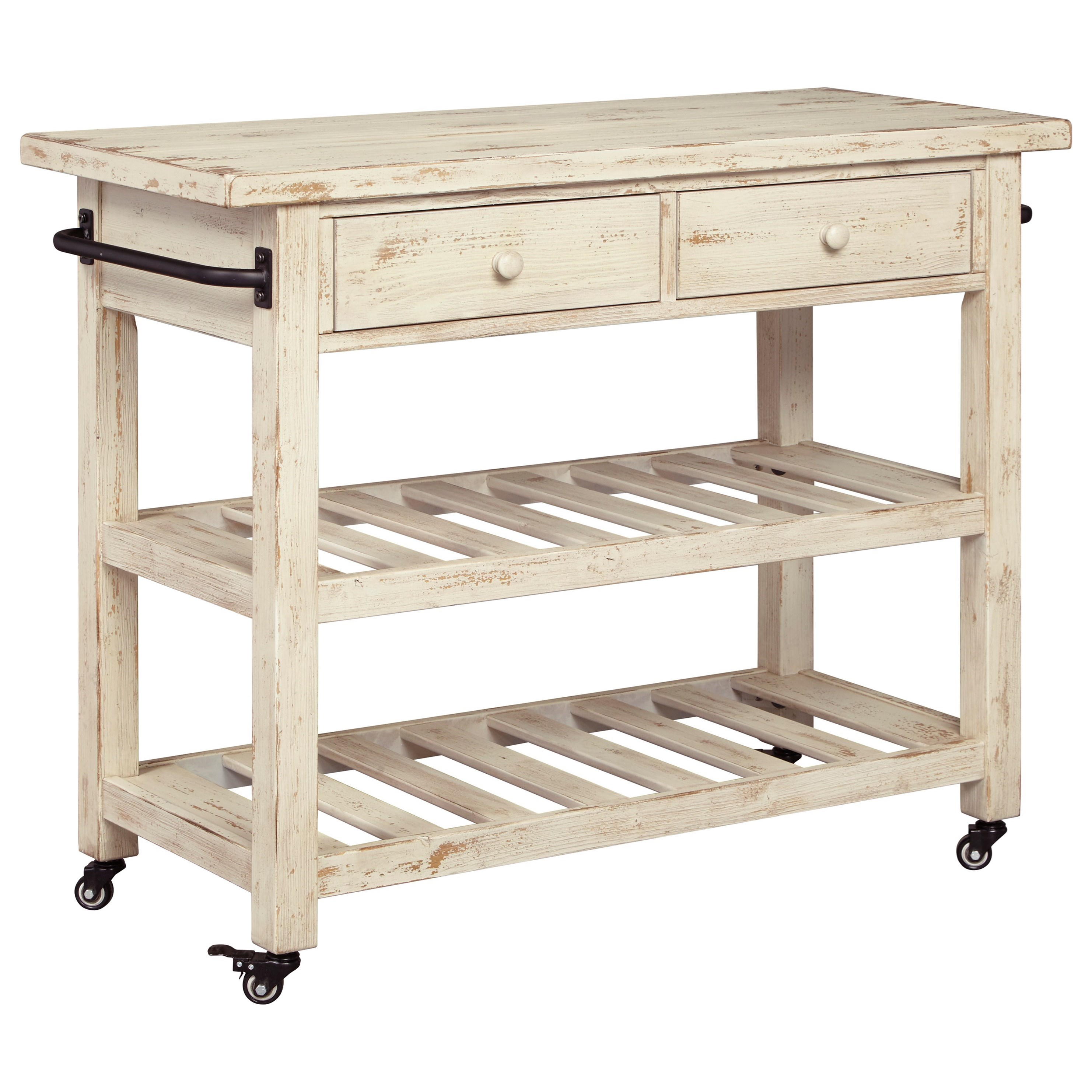ashley furniture kitchen island decorative shelves signature design by marlijo distressed white finish