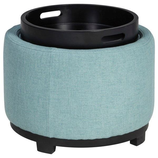 Reversible Tray Top Ottoman with Storage