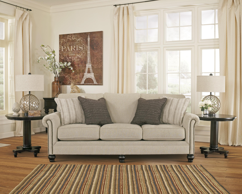 nailhead trim sofa ashley what size is a double bed signature design milari linen 1300038