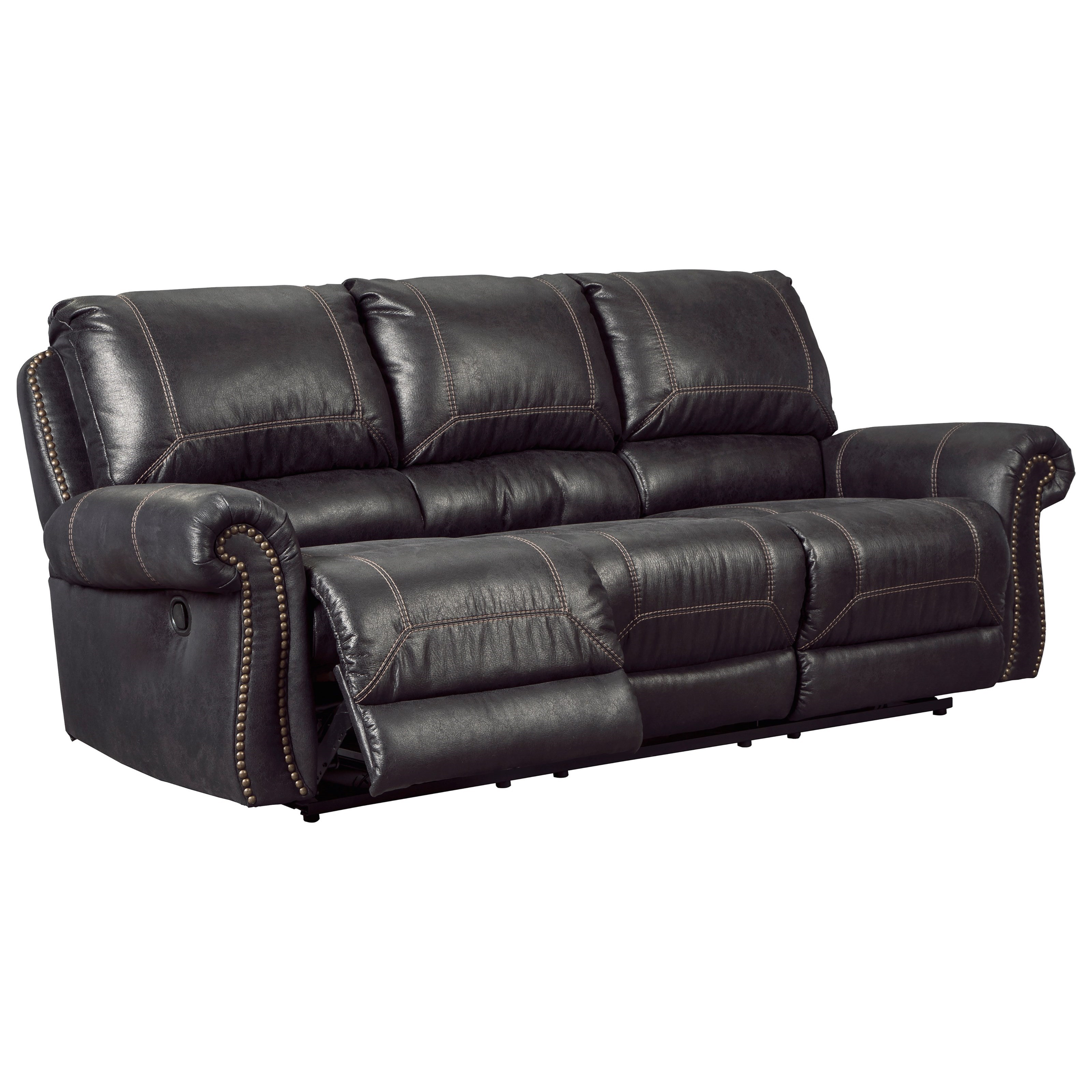 reclining sofa with nailhead trim oversized leather recliner signature design by ashley milhaven