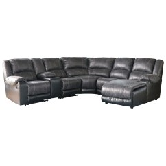 Faux Leather Sectional Sofa Ashley Dark Taupe Sofas Signature Design By Nantahala