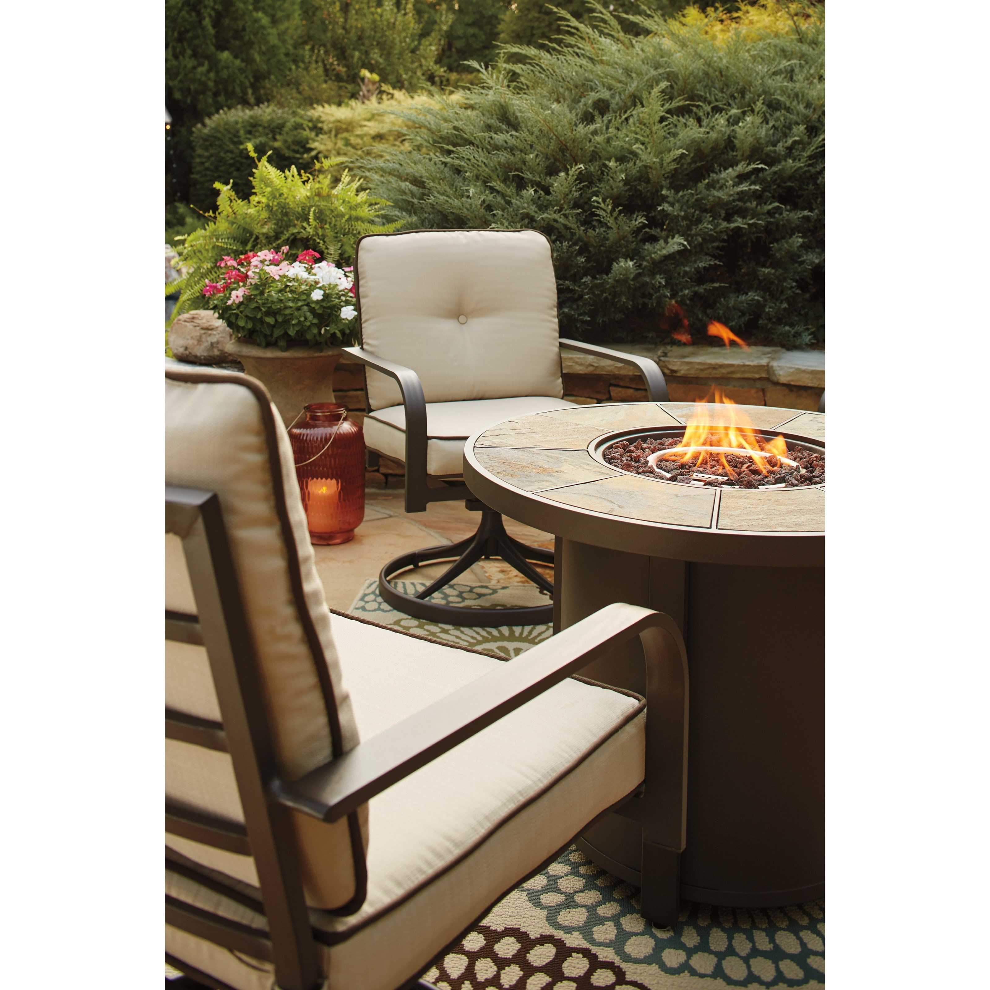 Fire Pit Table And Chairs Set Signature Design By Ashley Predmore 3 Piece Round Fire Pit