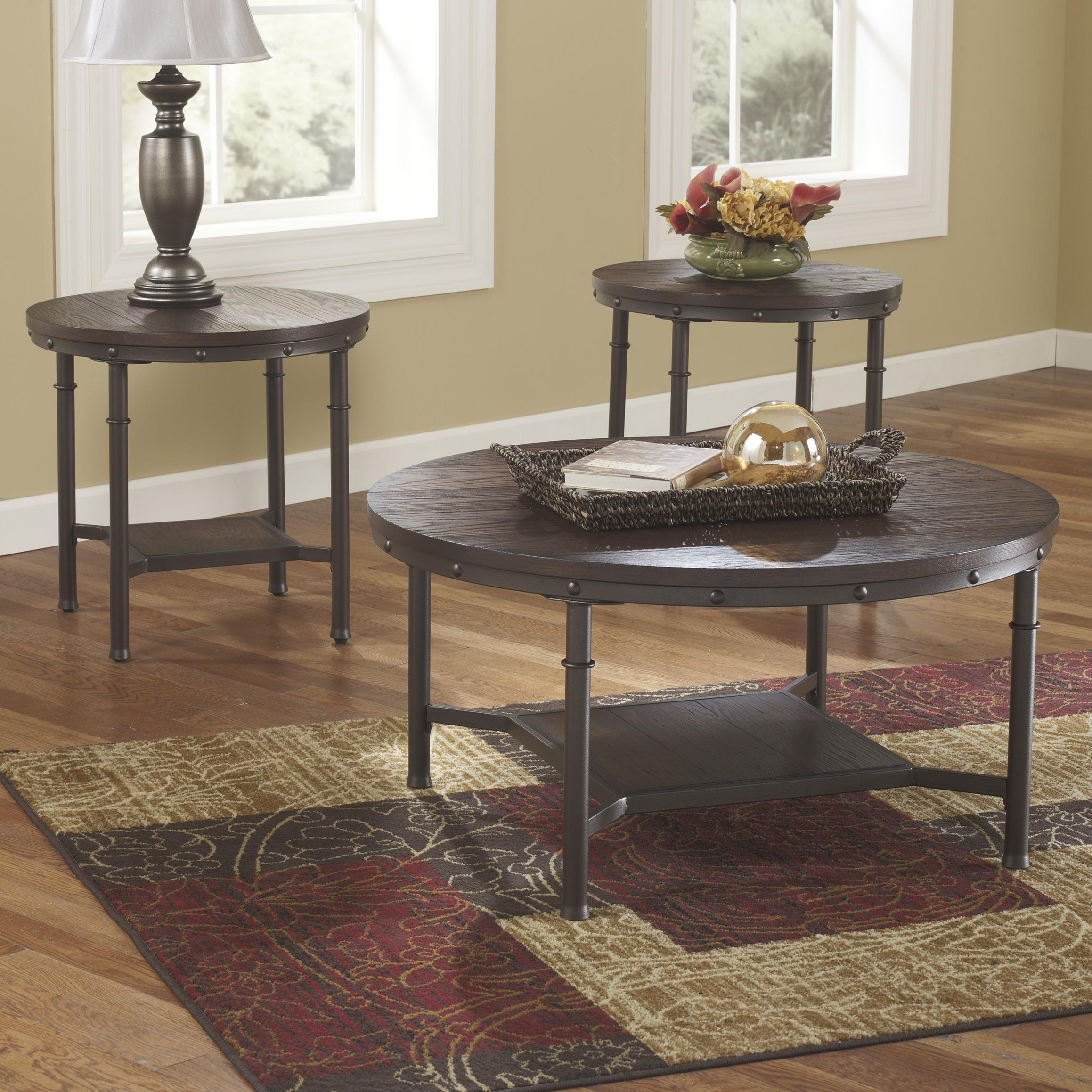 occasional table and chairs indoor lounge signature design by ashley sandling t277 13 rustic metal