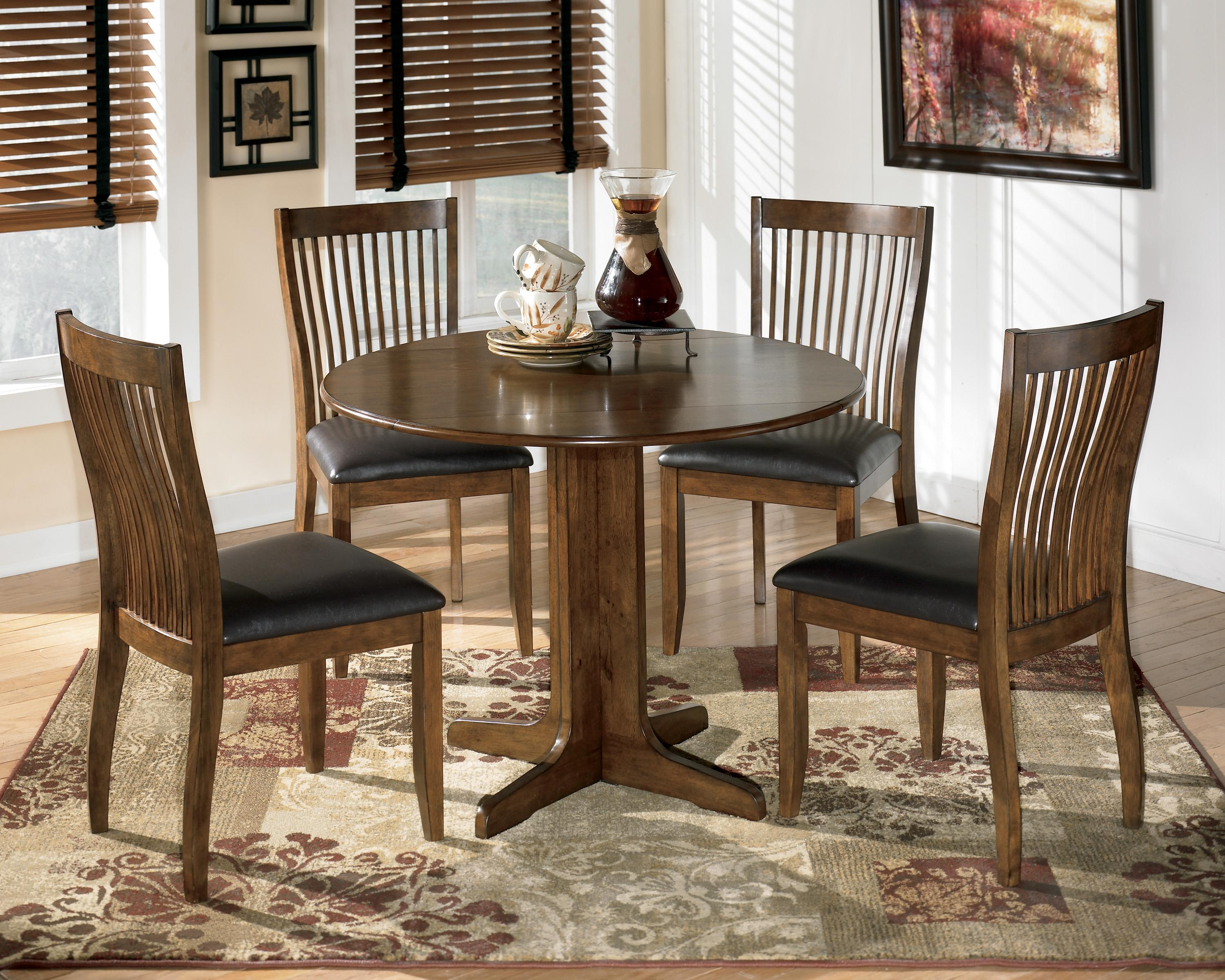 ashley furniture kitchen table and chairs recliner chair repair signature design by stuman round drop leaf