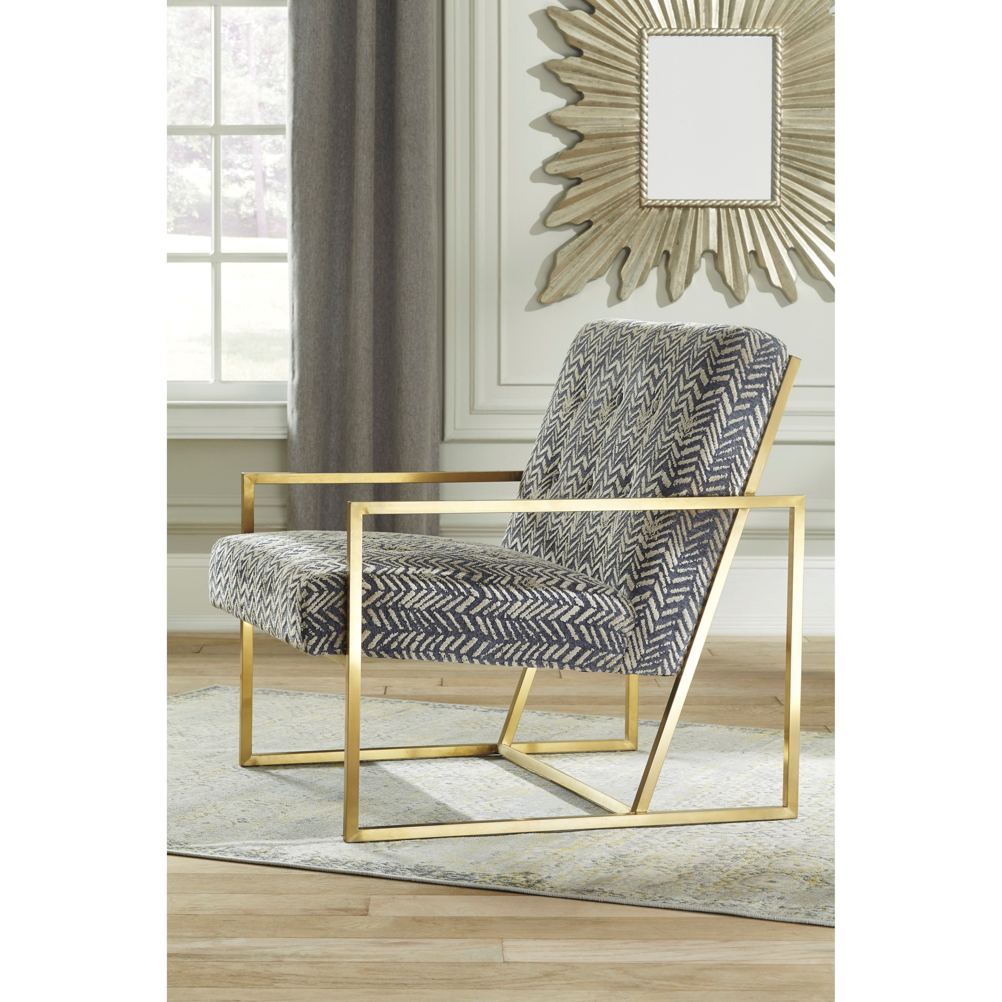 gold metal accent chair office chairs on sale signature design by ashley trucker a3000026 finish