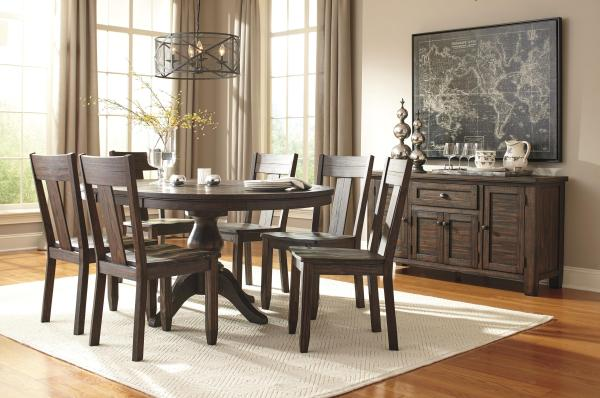 Brown Round Dining Room Table
