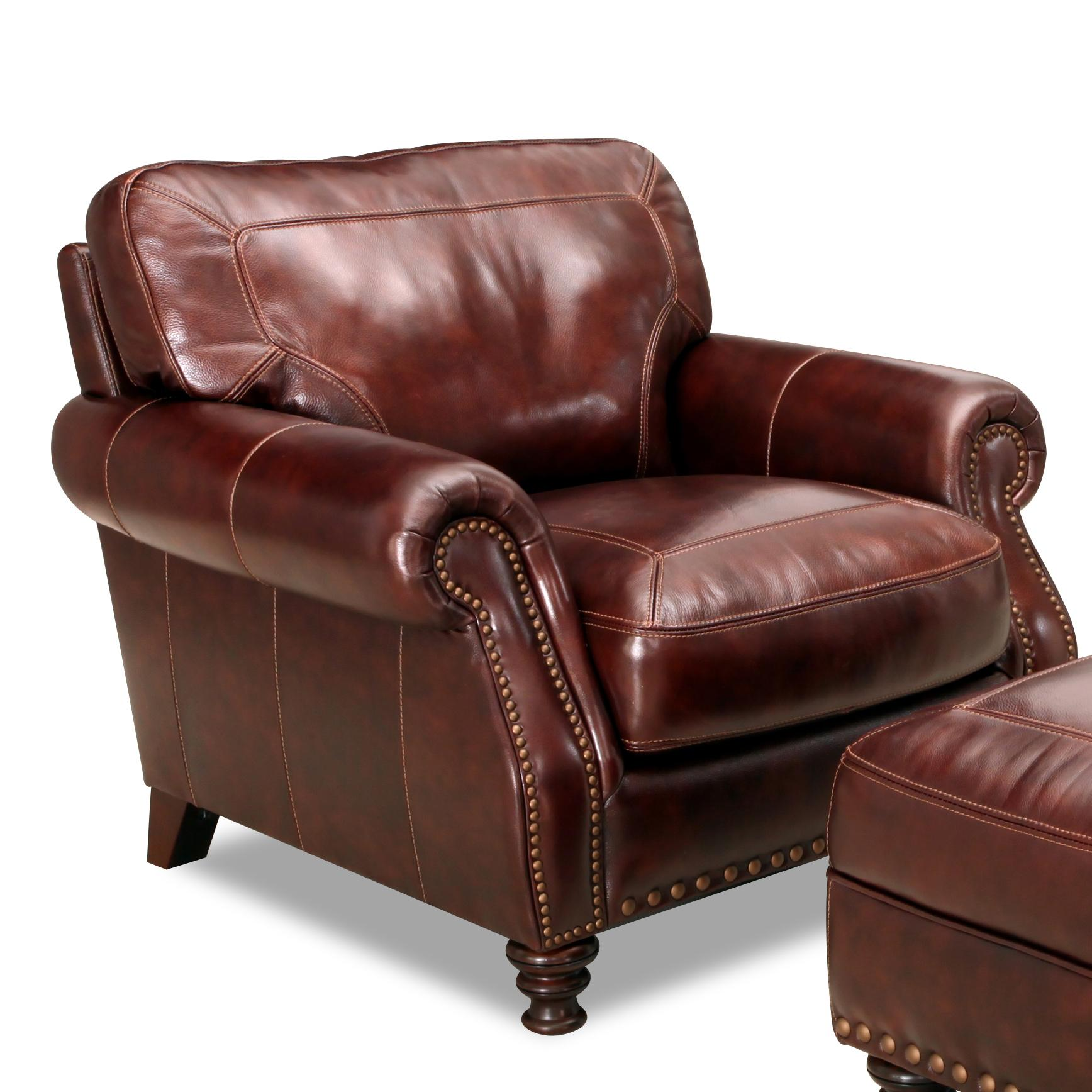 Overstuffed Chair And A Half Simon Li 6978 Rolled Arm Leather Chair With Nailhead Trim