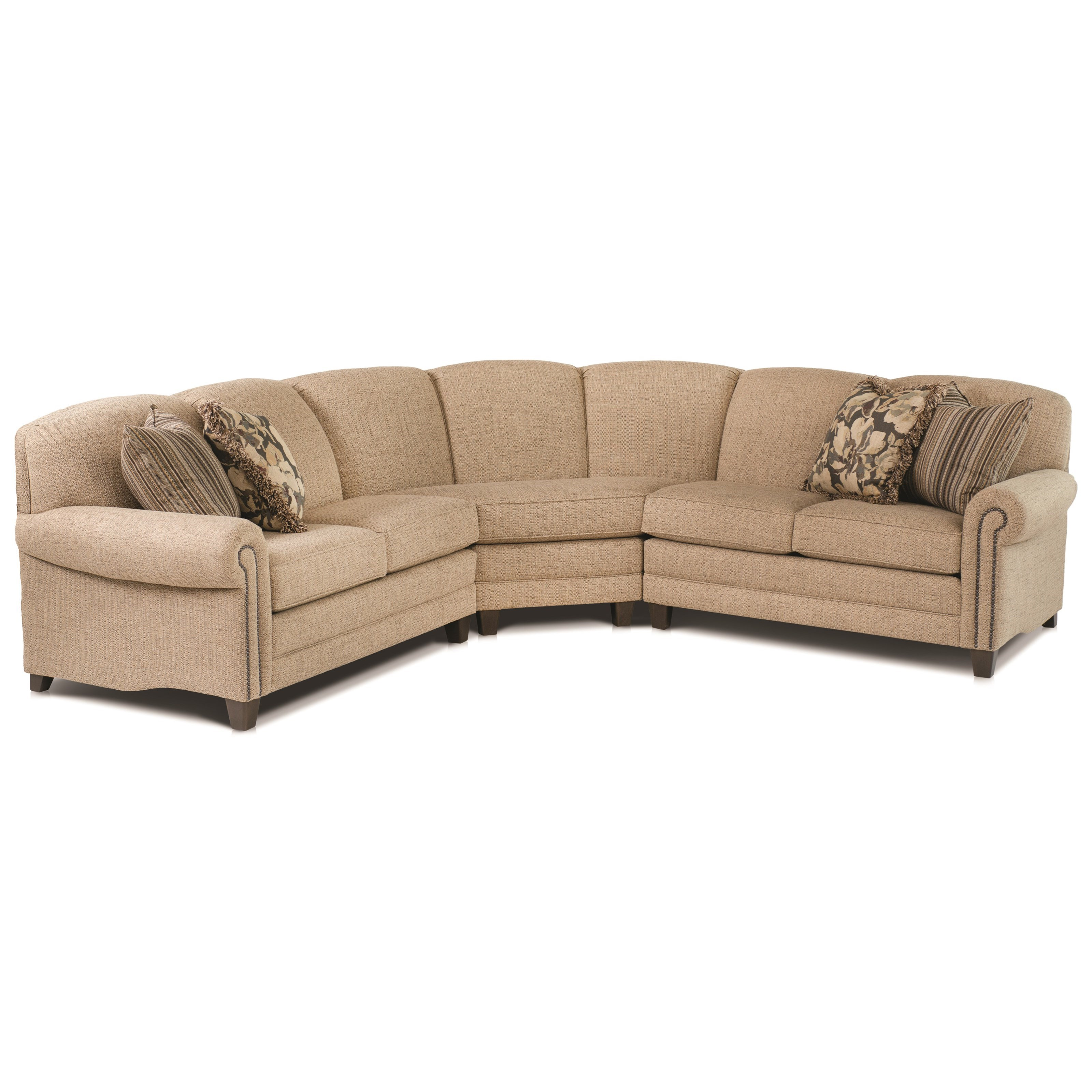 rolled arm sofa with nailhead trim ergonomic uk smith brothers 397 stationary sectional arms