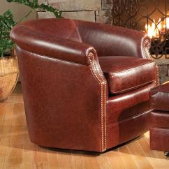 Leather Swivel Barrel Chair Cheap Folding Lawn Chairs Smith Brothers Accent And Ottomans Sb 820l 56
