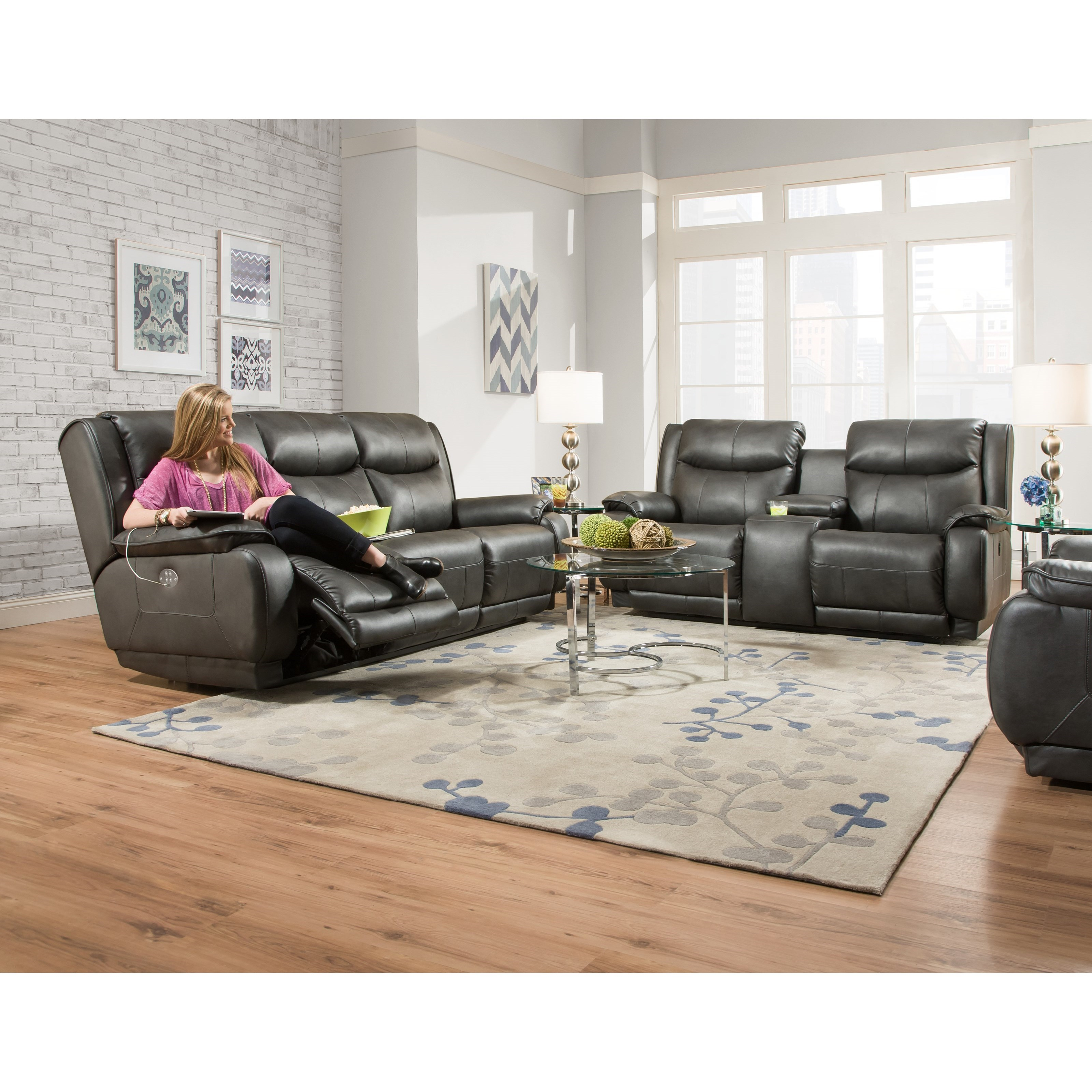 southern motion velocity reclining sofa minimal corner double console
