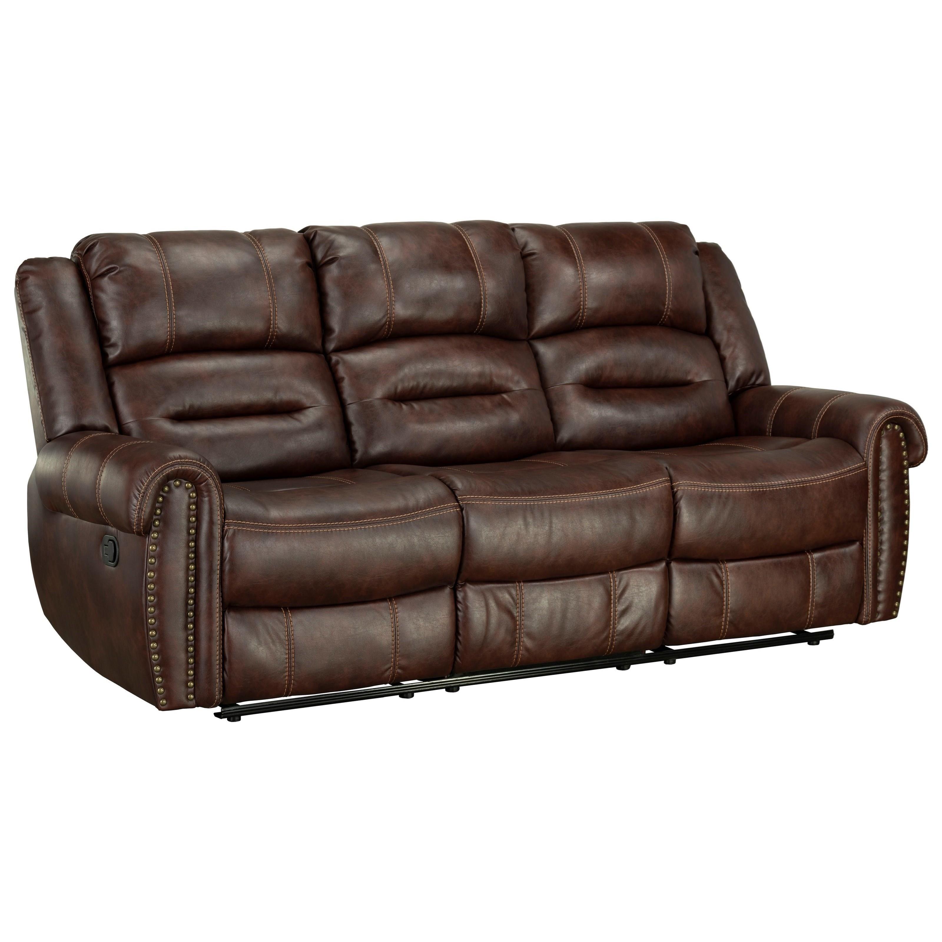 reclining sofa with nailhead trim futon bed ikea standard furniture cunningham casual