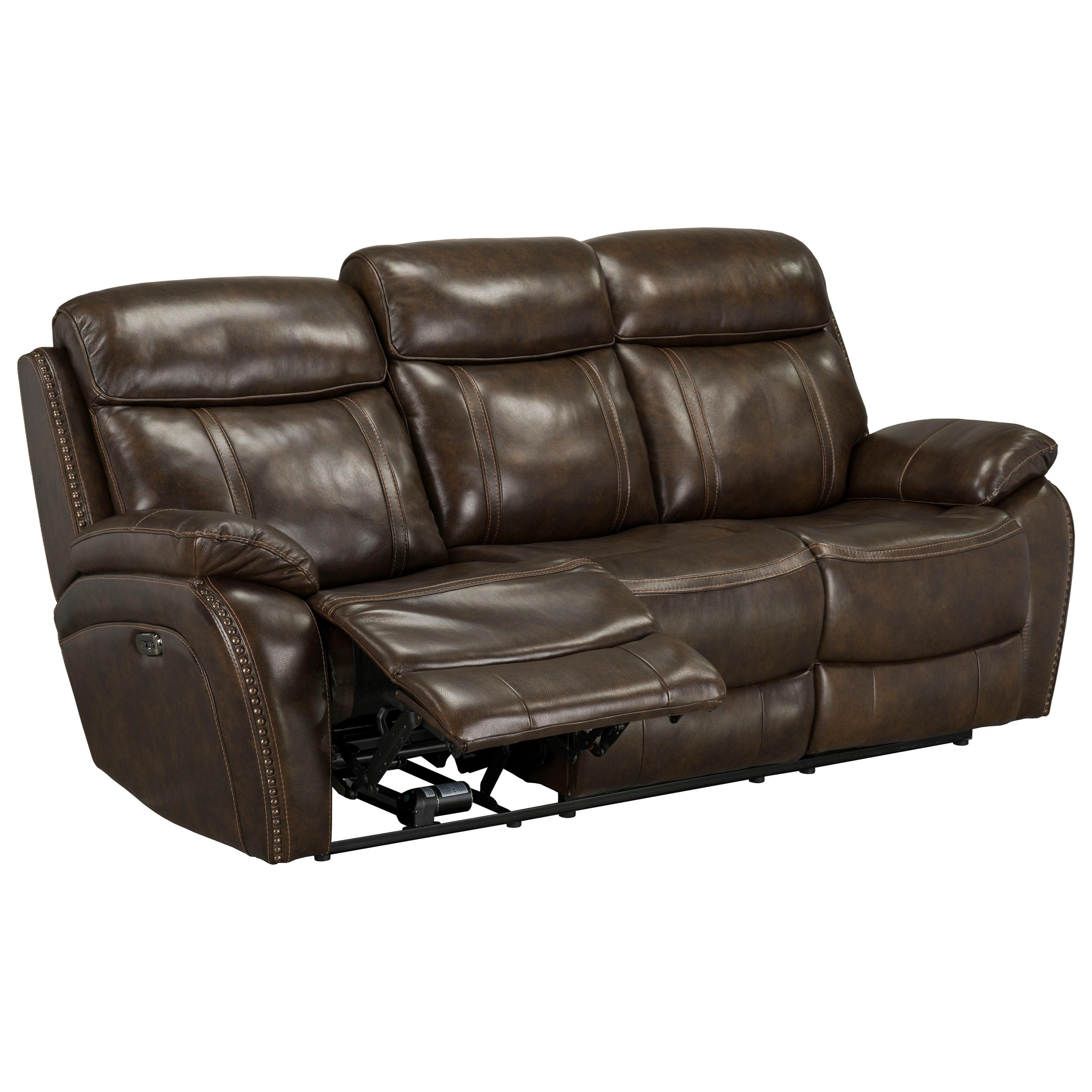 reclining sofa with nailhead trim bed cover canada standard furniture edmond manual nail