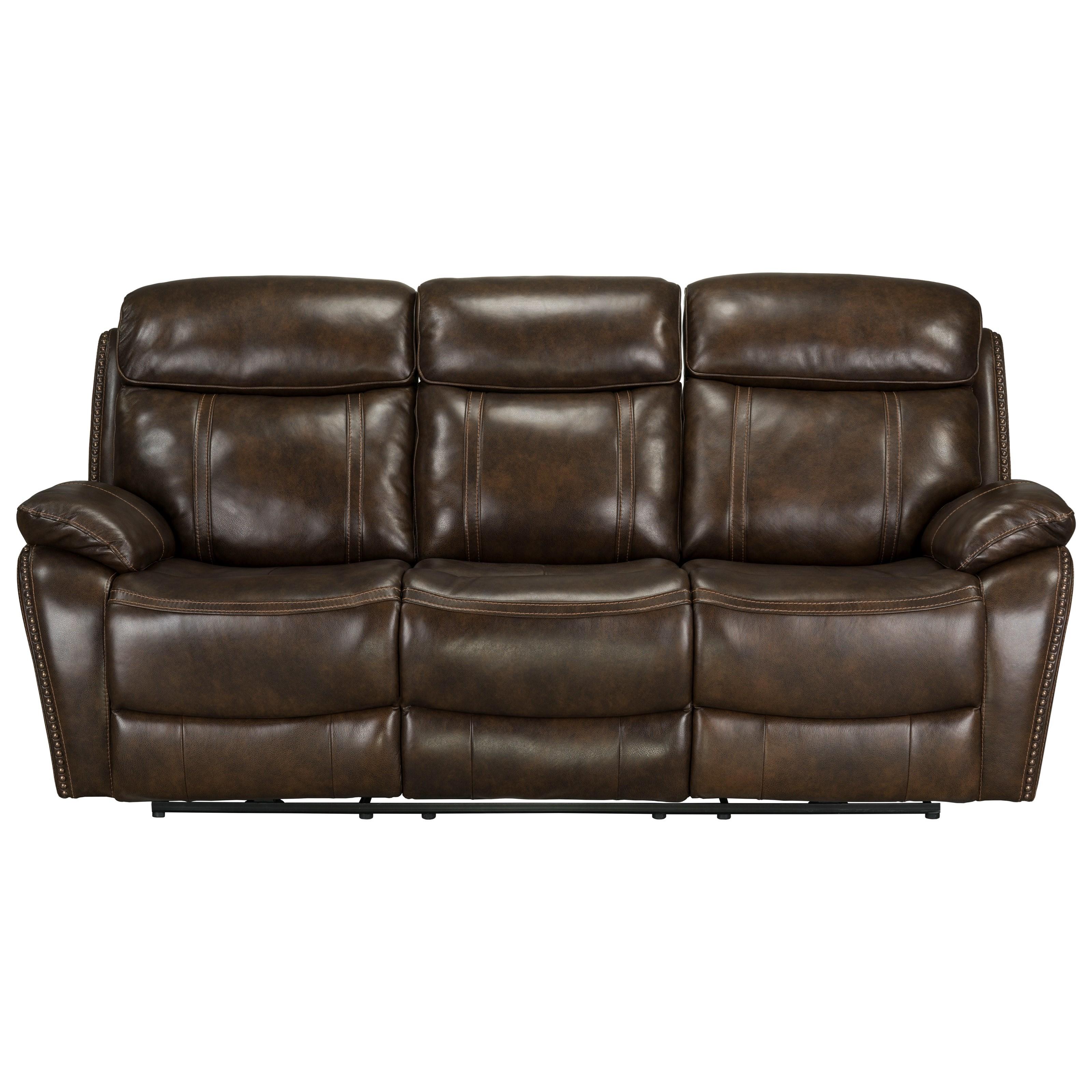 reclining sofa with nailhead trim sectional gray standard furniture edmond manual nail