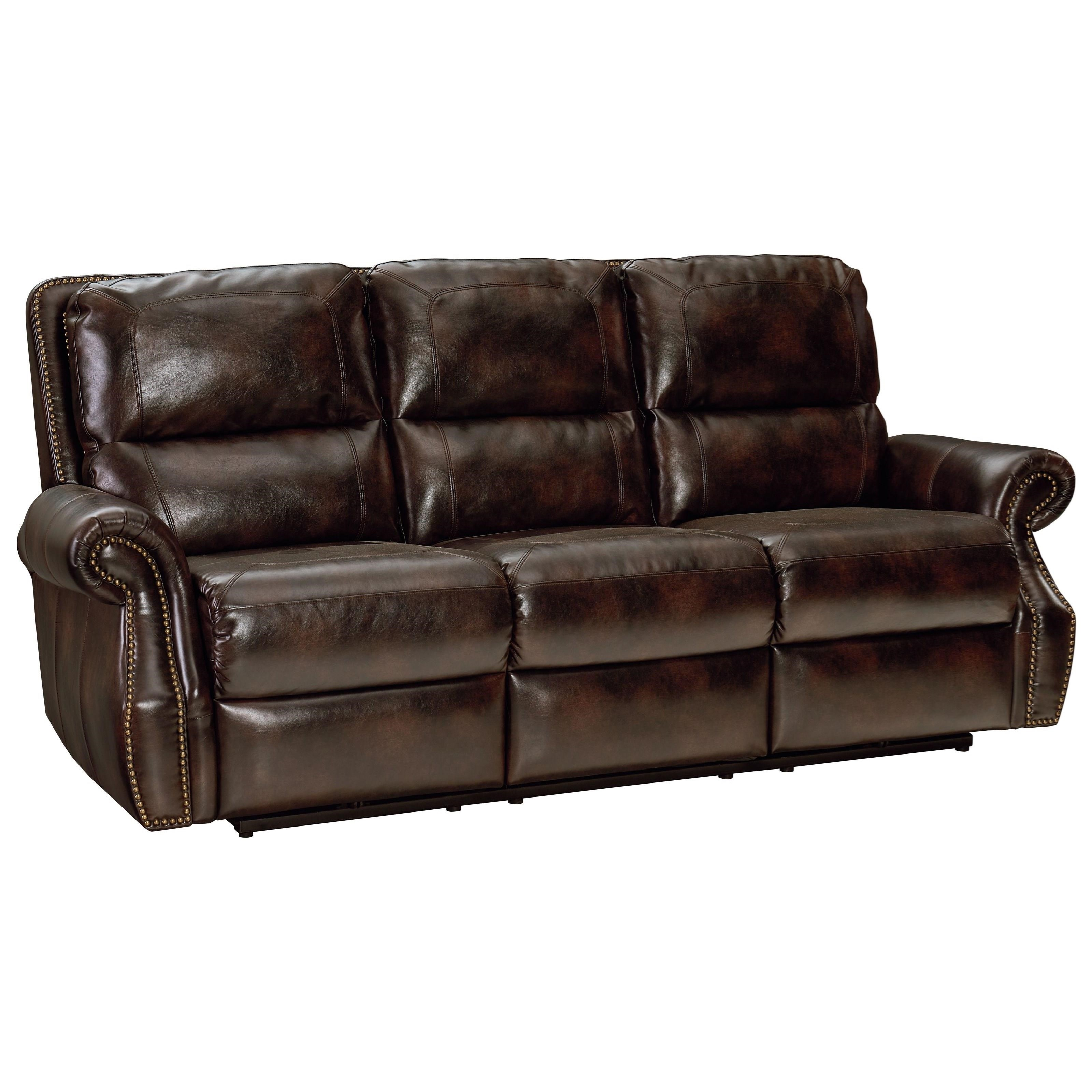 reclining sofa with nailhead trim deep seat outdoor cushions standard furniture kingston traditional