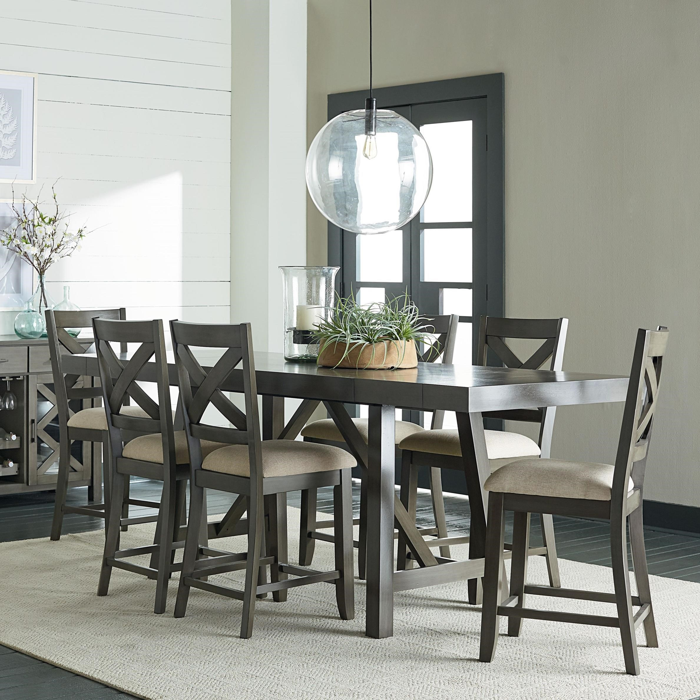 Dining Chairs Set Standard Furniture Omaha Grey Counter Height 7 Piece