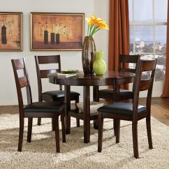 Round Dining Chairs Chair Pad Foam Standard Furniture Pendwood 10022 5 Piece Table