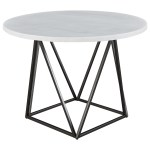 Steve Silver Ramona Contemporary White Marble Top Round Dining Table Standard Furniture Dining Tables