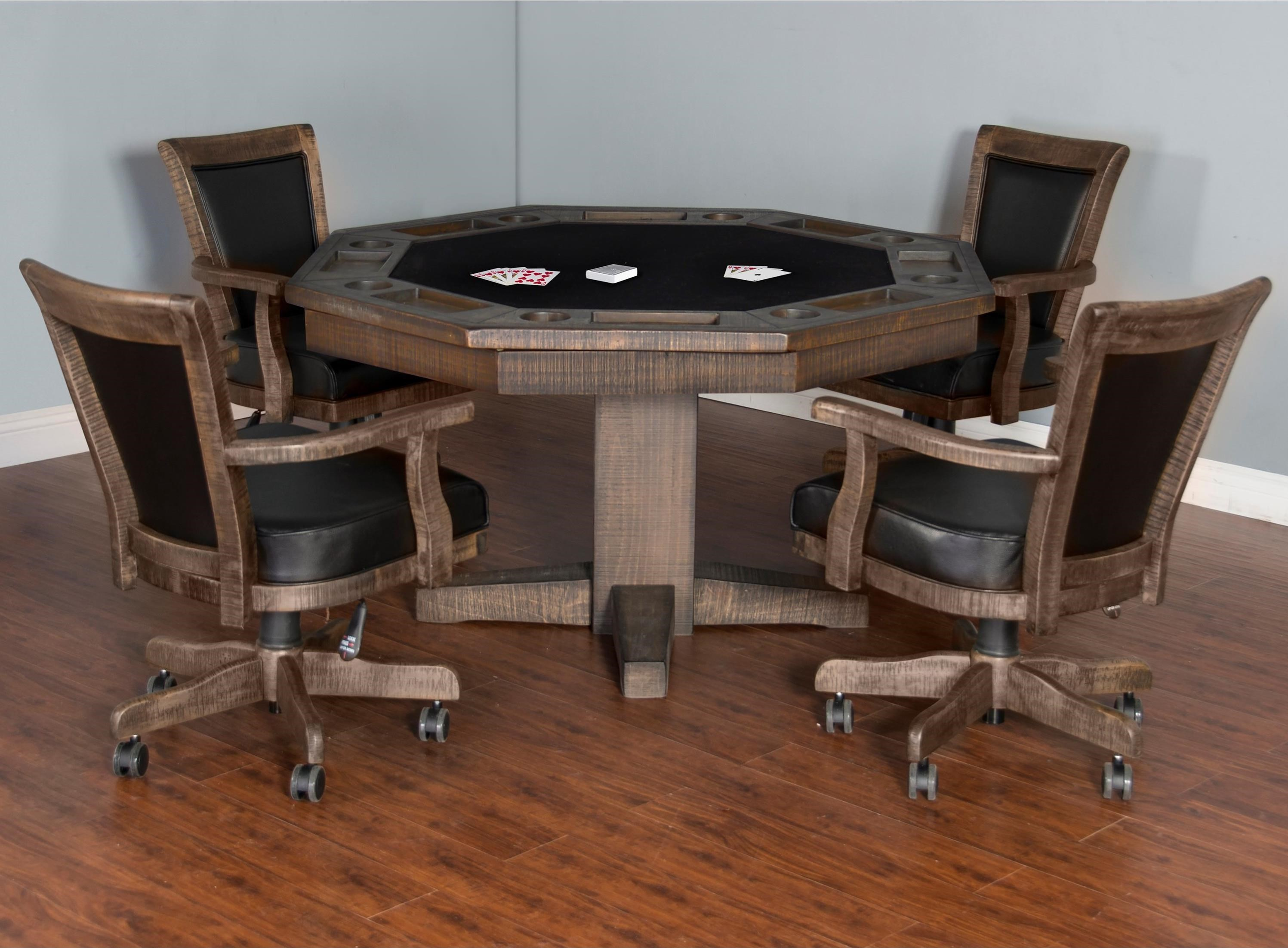 poker table chairs with casters plastic folding lowes sunny designs homestead game and dining set