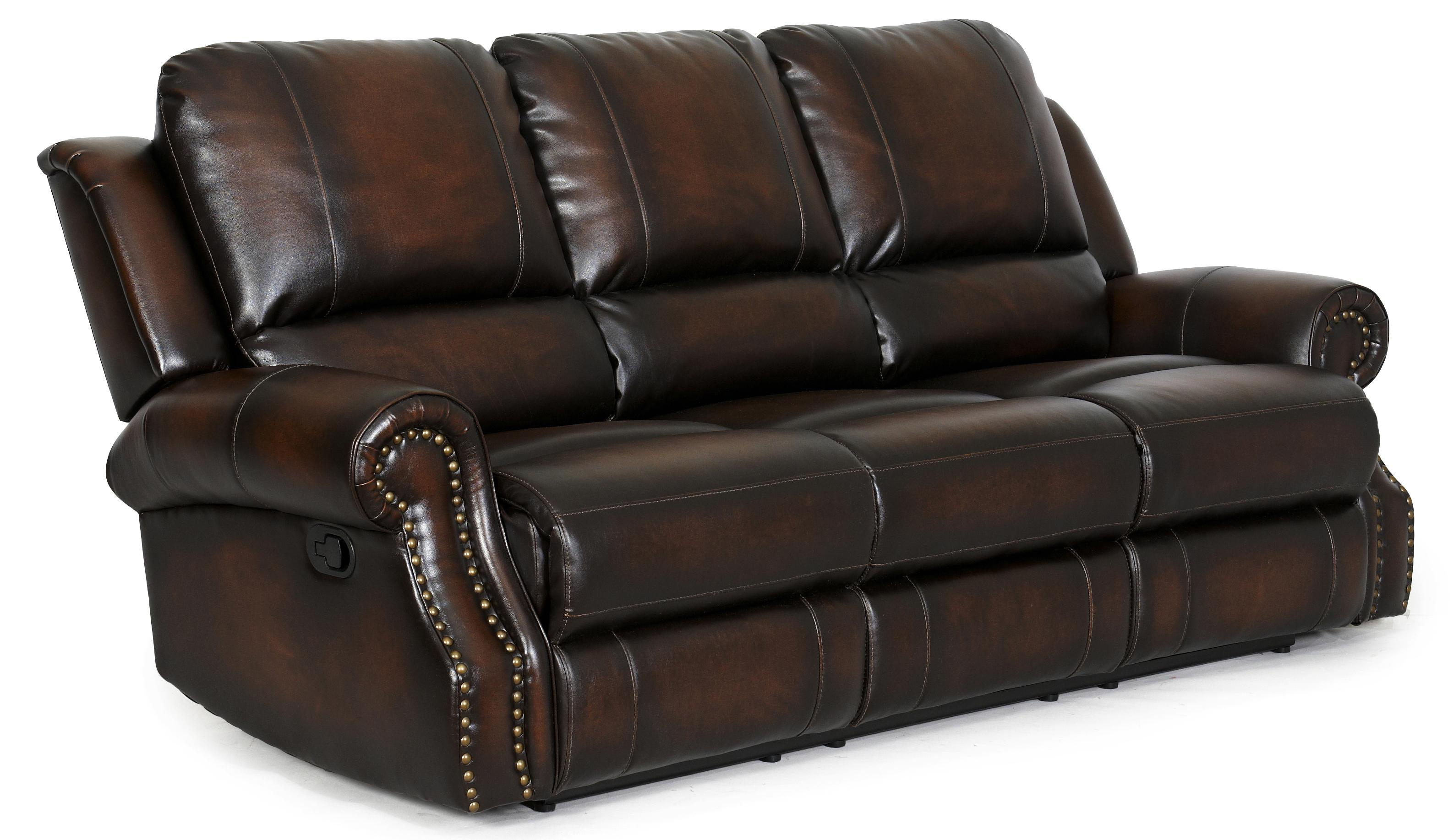 reclining sofa with nailhead trim bright blue cover ldi 869 58 transitional rolled