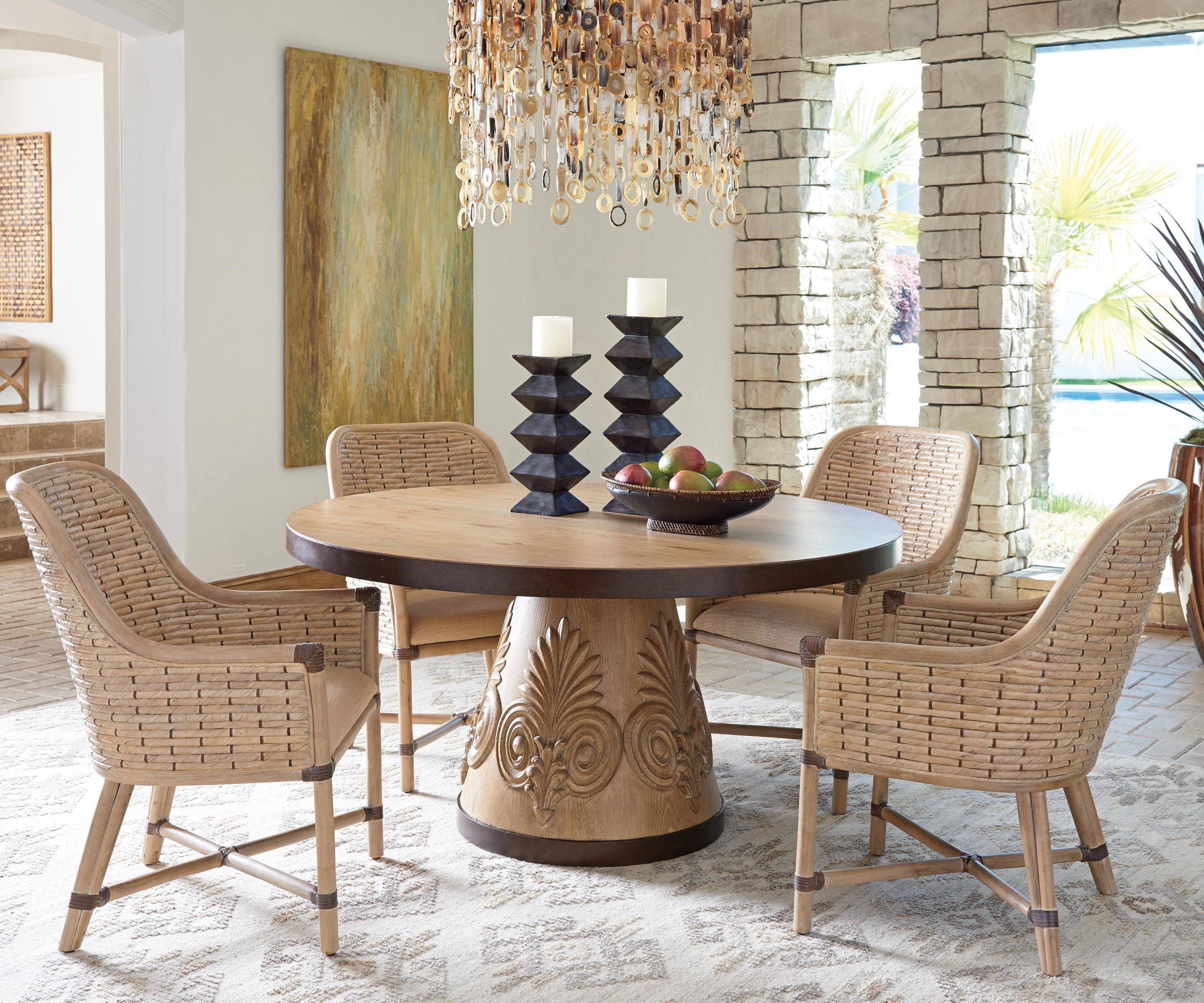 banana leaf dining room chairs cuddle chair bed tommy bahama home los altos five piece set with