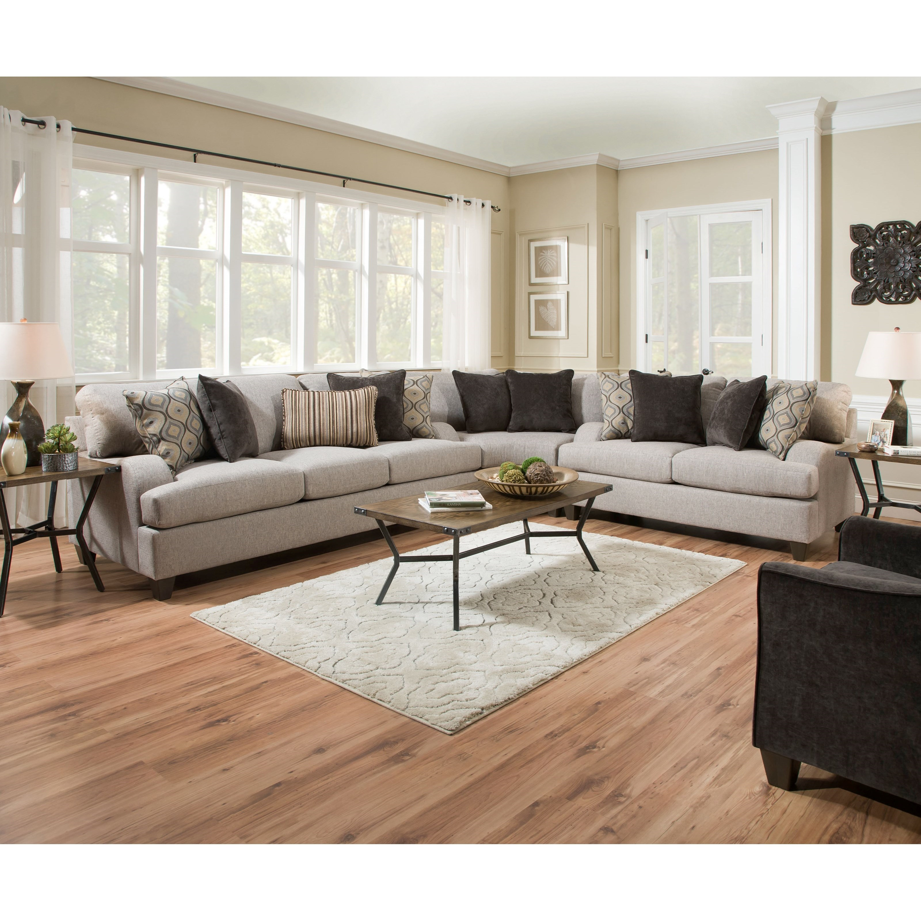 8642 transitional sectional sofa with chaise by albany sage green table united furniture industries