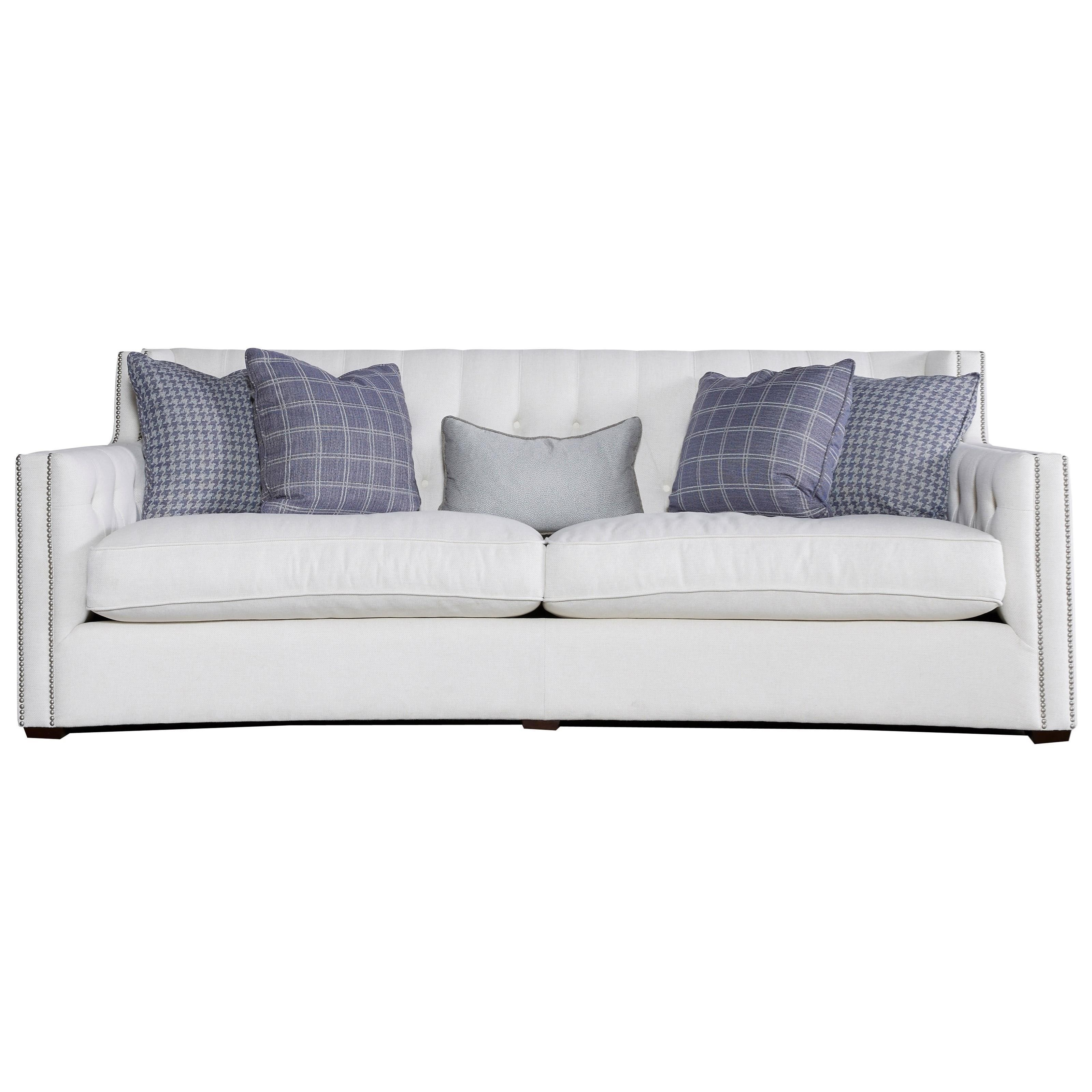 contemporary sofa with wood trim paintings abstract universal tessa track arms and nail
