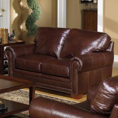 Leather Nailhead Sofa Set Light Brown Tweed Usa Premium 7855 Traditional Stationary