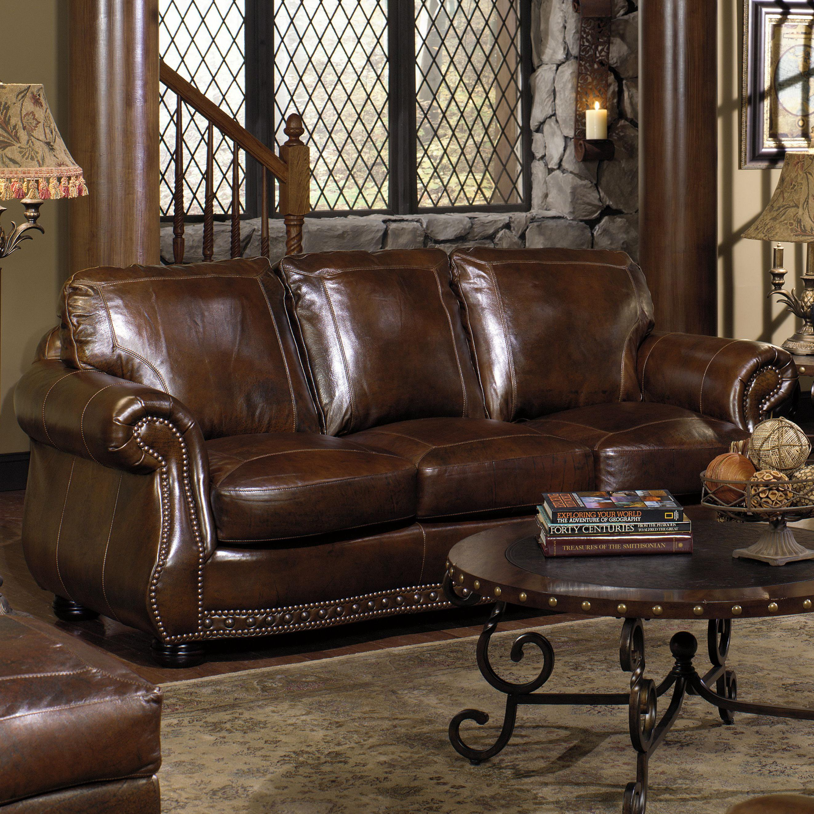 leather nailhead sofa set black reclining with console usa premium 8755 stationary w