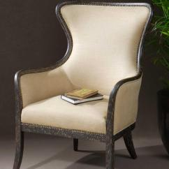 Accent Wingback Chairs United Chair Medical Stool Uttermost Furniture 23051 Zander Contemporary Wing