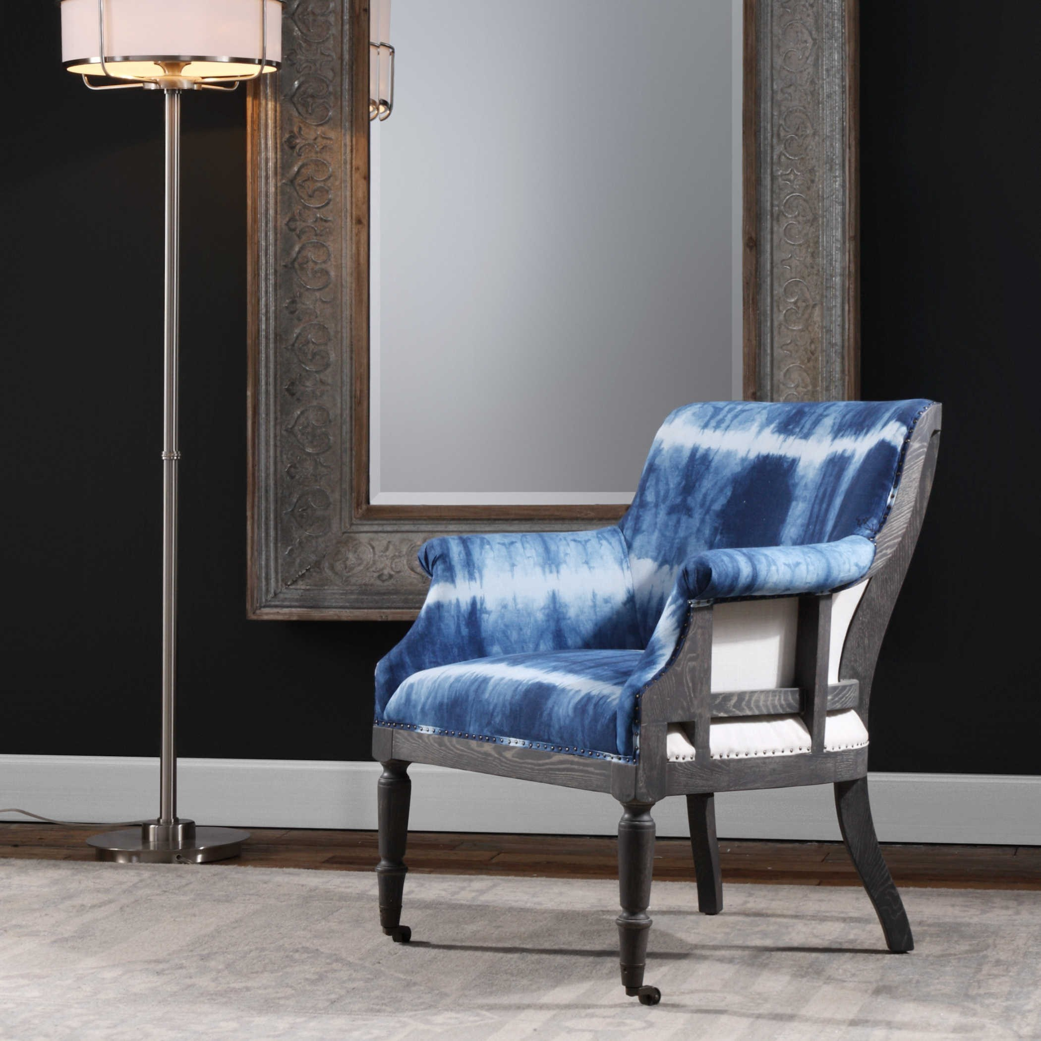 accent chair blue grey high back dining uttermost furniture royal cobalt