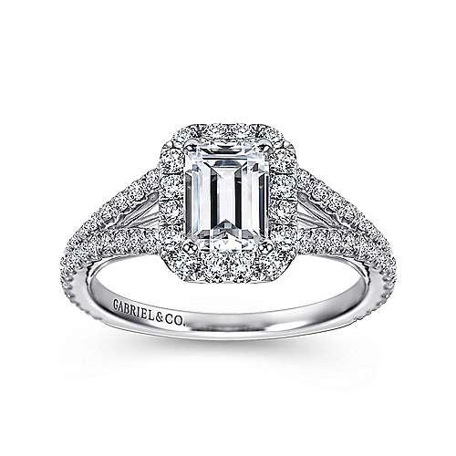Ariane 18k White Gold Emerald Cut Halo Engagement Ring