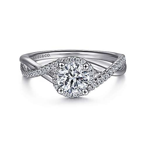 Courtney 14k White Gold Round Criss Cross Engagement Ring