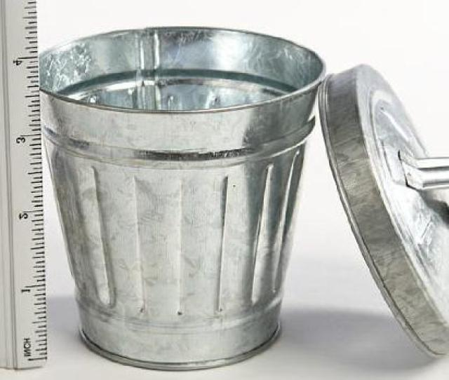 Miniature Galvanized Metal Trash Garbage Cans