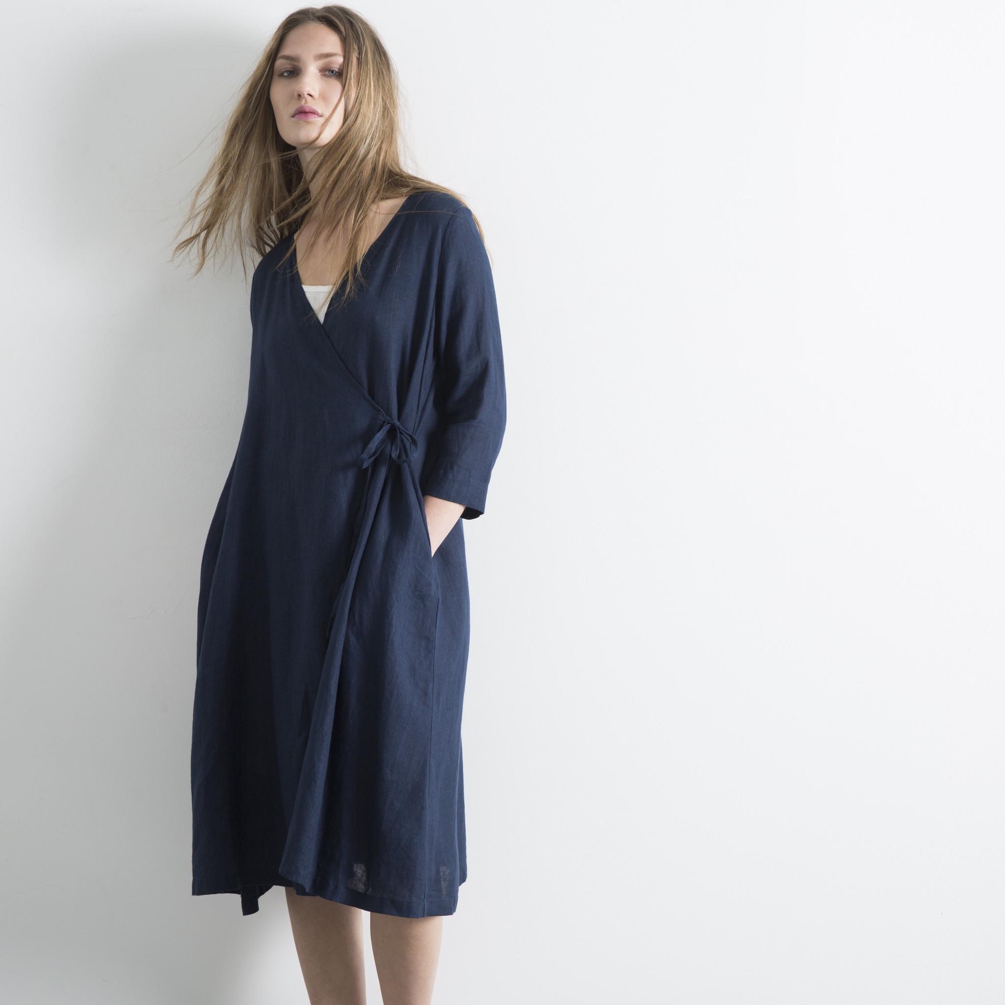 Fog Linen Black Nuit Chika Wrap Dress Garmentory