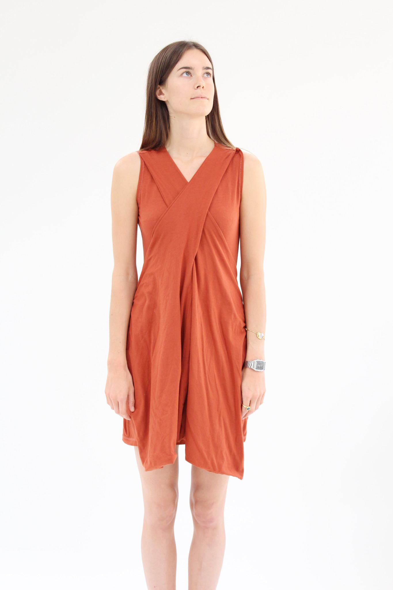 Beklina Criss Cross Jersey Wrap Dress Terra Cotta Garmentory