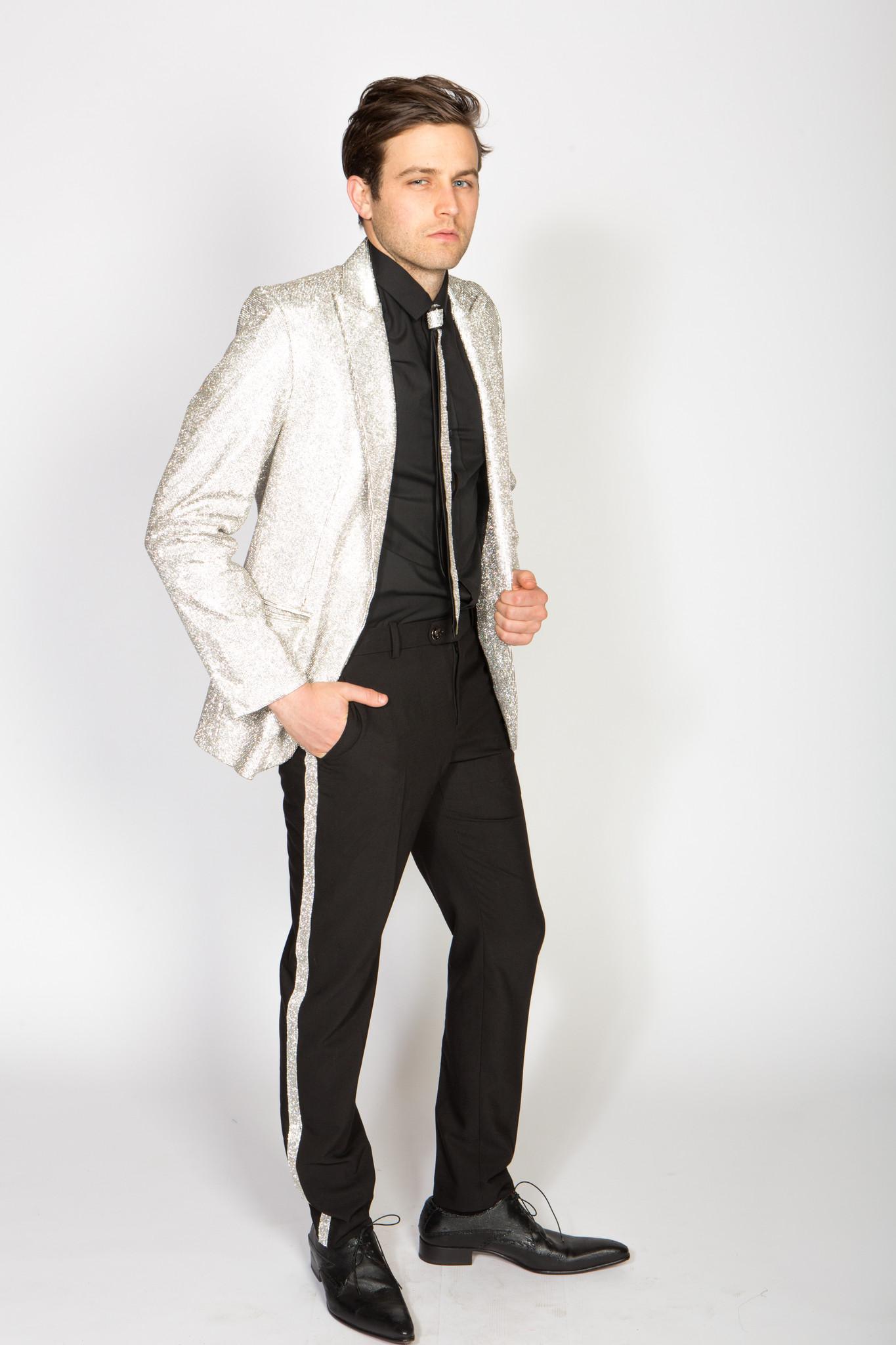 Any Old Iron Rhinestone Cowboy Suit  RHINESTONE SILVER