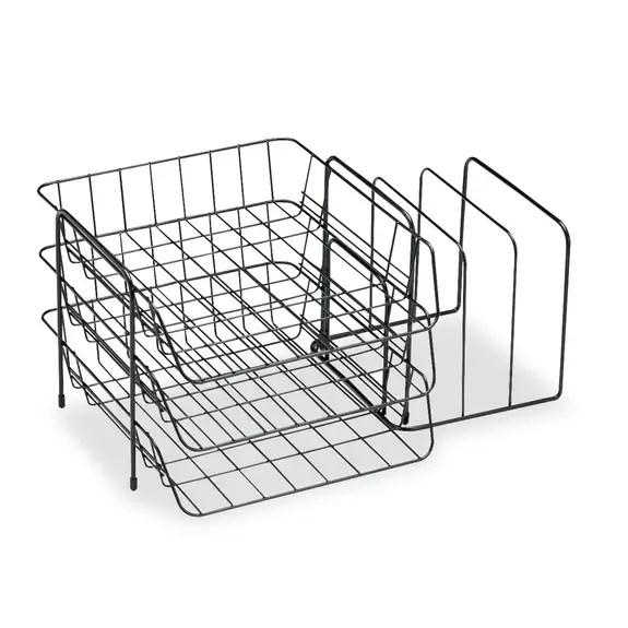 Fellowes Wire Triple Tray W/sorter, 6 Comp, Steel, 17 3/4