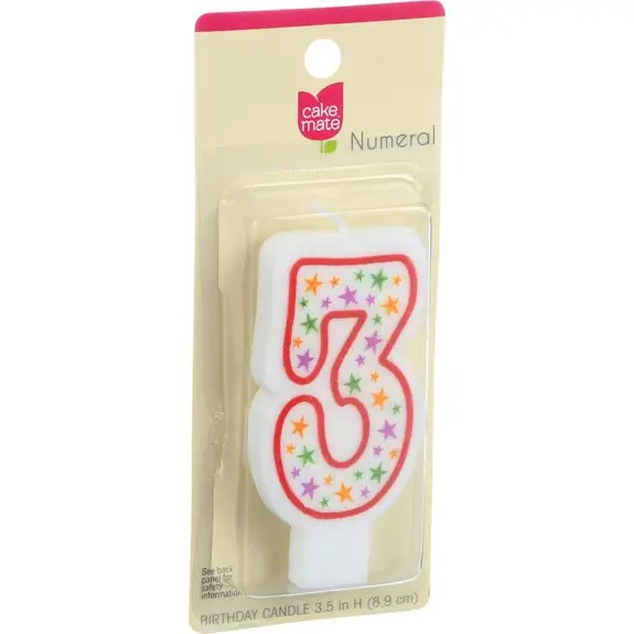 Cake Mate Birthday Party Candle Numeral 3 3 in 1