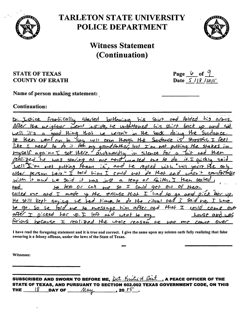 The Witness Statement Against Tarleton State Professor Jeff Justice And His  Sundance Ritual