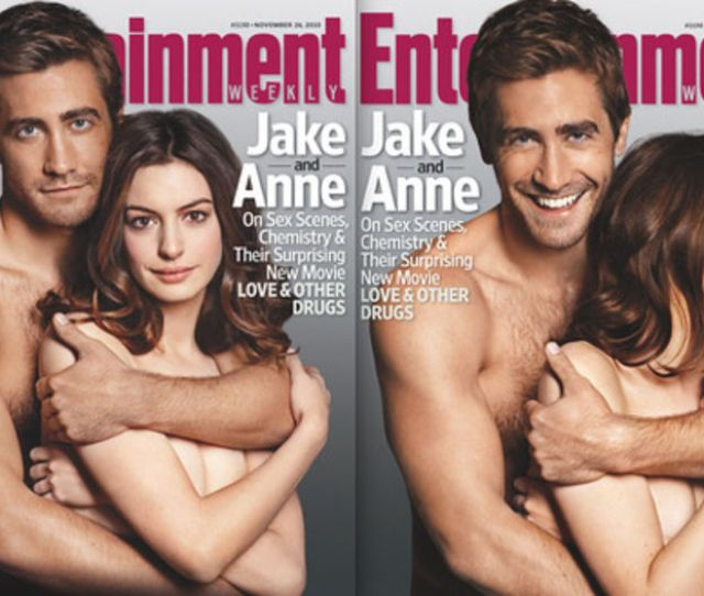 Jake Gyllenhaal And Anne Hathaway On Two Of The Three Sexy Pex New Entertainment Weekly Covers They Shot To Promote Their Movie Love And Other Drugs