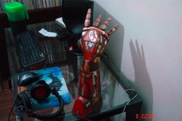 Iron Mans hand repulsor turned into a battle damaged lamp