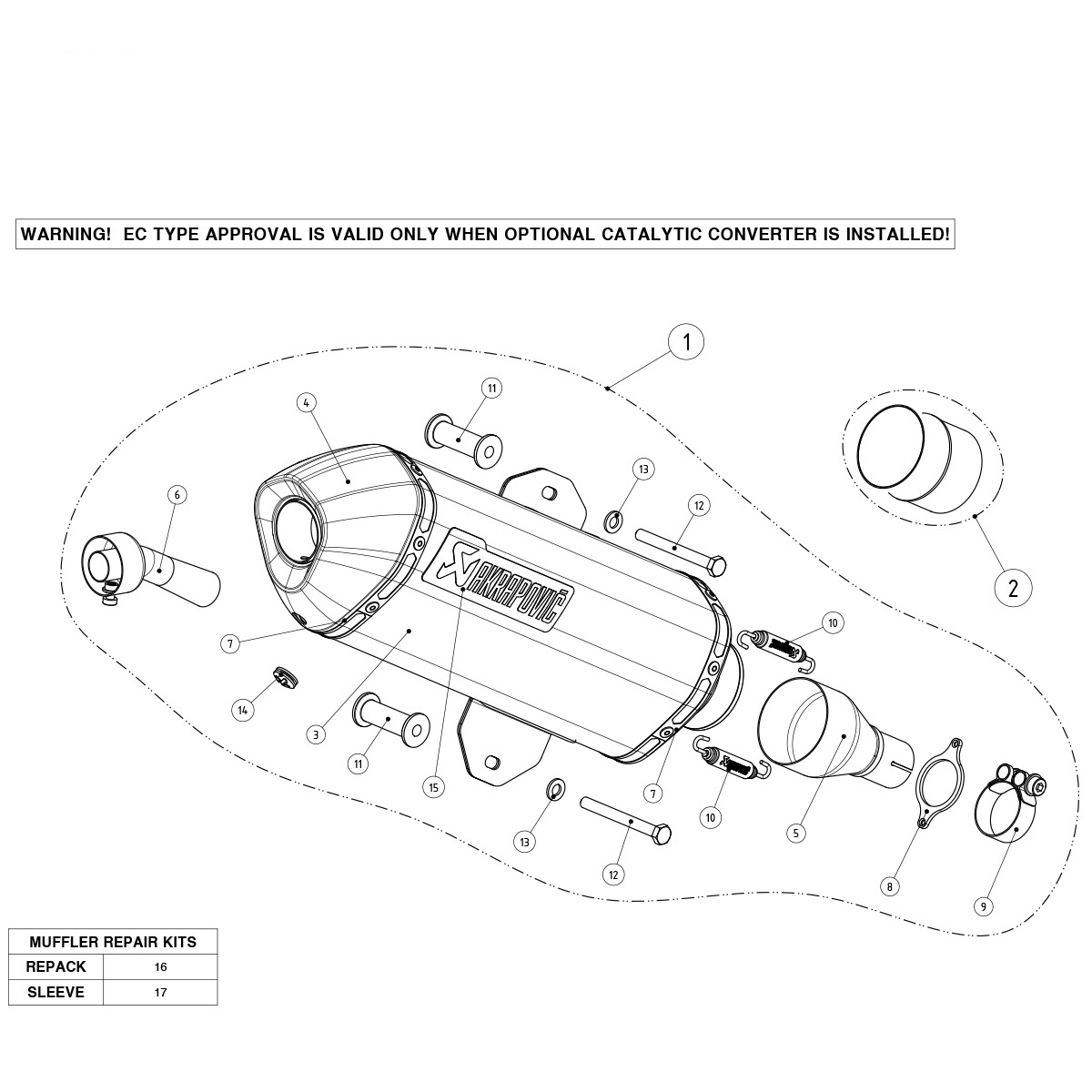 Exhaust Stainless Steel Approved Muffler Akrapovic Gilera