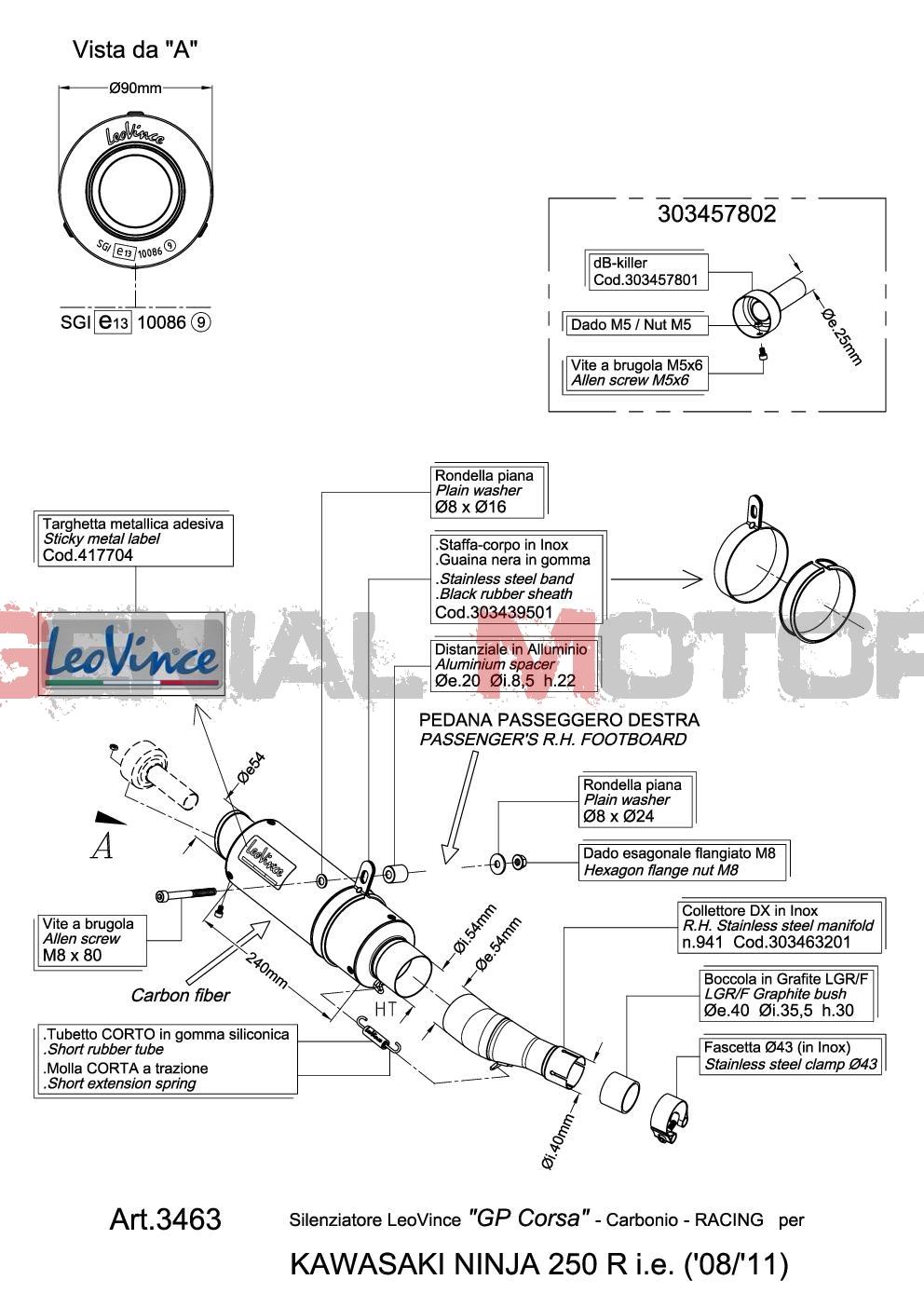 Exhaust Leovince Gp Corsa Carbon Fiber Kawasaki Ninja 250