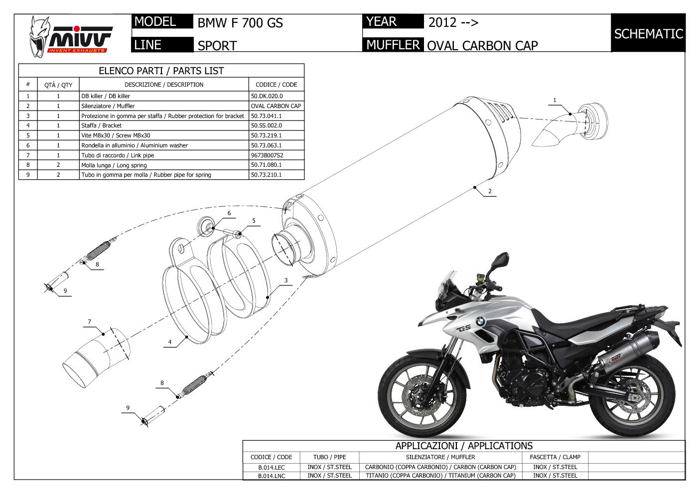 Mivv Exhaust Muffler Oval Carbon Fiber With Carbon Cap Bmw F 700 Gs Gt
