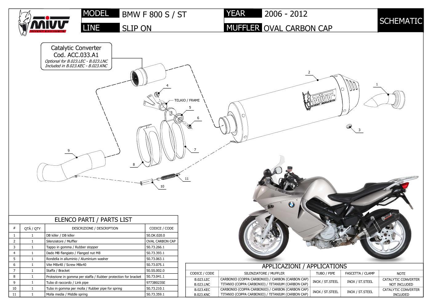 Auspuff exhaust MIVV Oval Titan Mit Carbon endkappe fur