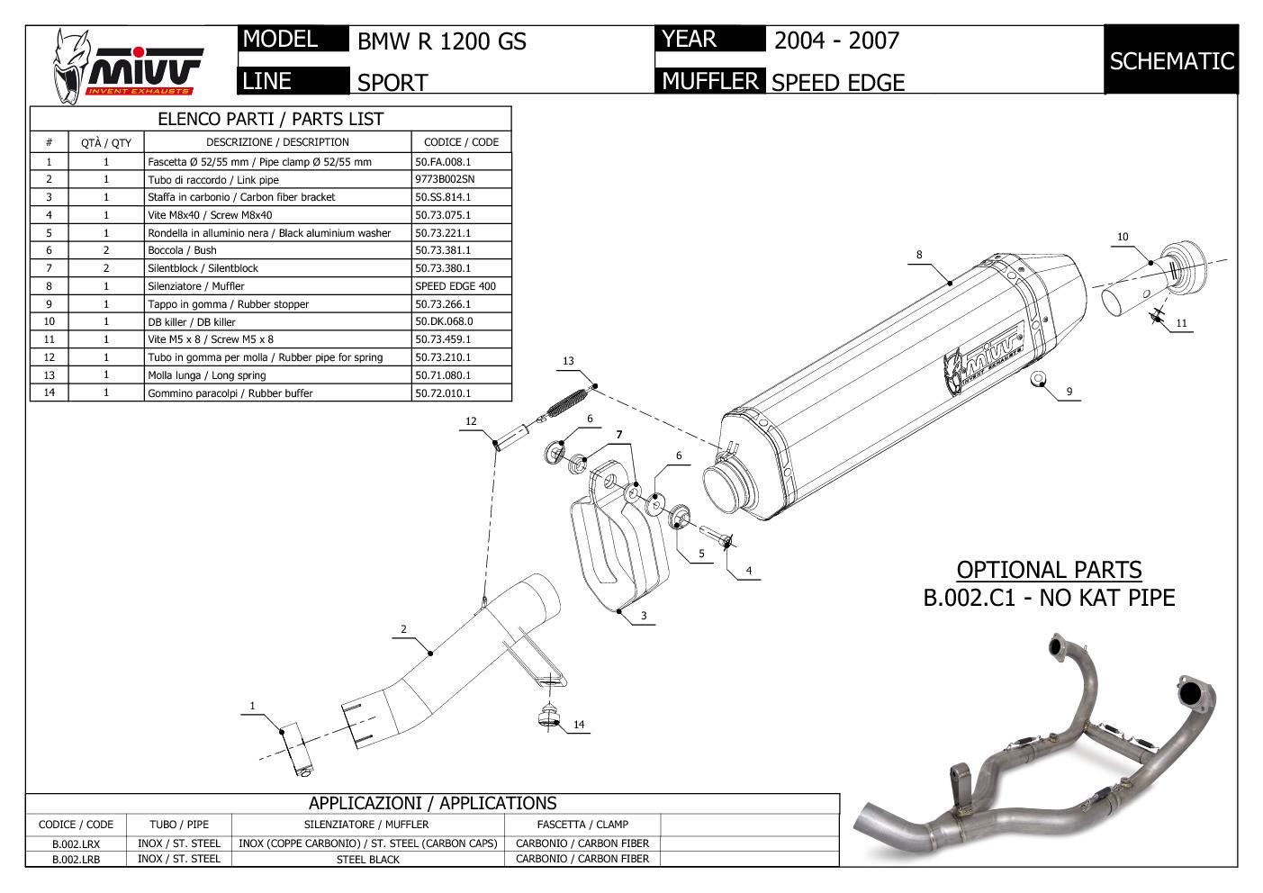 Mivv Exhaust Muffler Speed Edge Stainless Steel for Bmw R