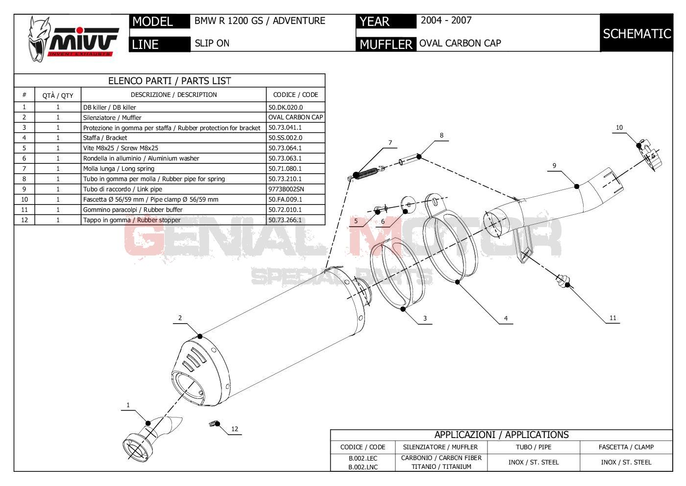 Mivv Exhaust Muffler Oval Titanium Carbon Cap kat BMW R