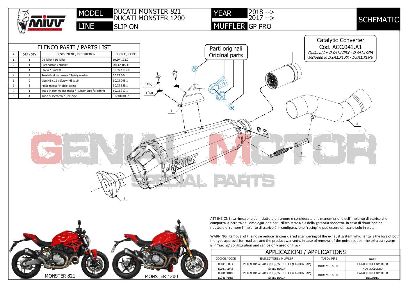 Pot D'echappament MIVV Delta Race Inox pour DUCATI MONSTER