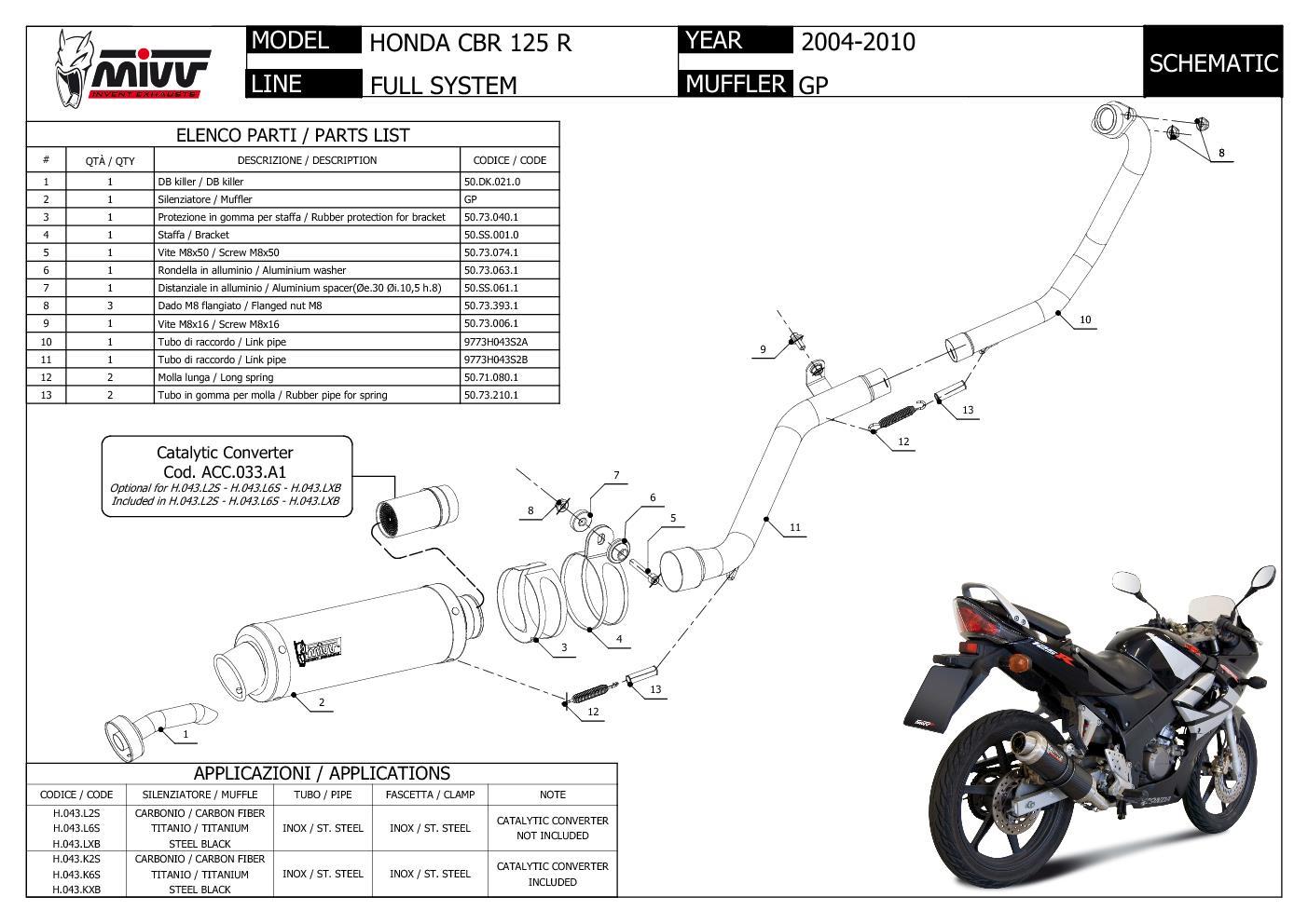 H 043 L2s Mivv Complete Exhaust Gp Carbon Fiber For Honda