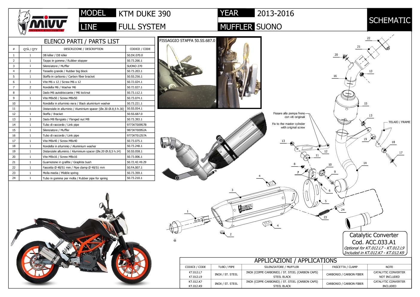 Mivv Complete Exhaust Suono Black Stainless Steel for Ktm